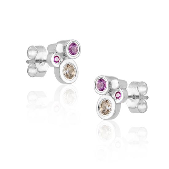Sapphire and Morganite Silver Earrings