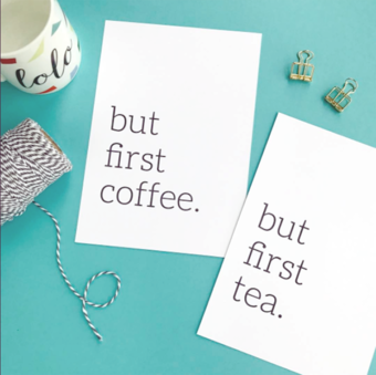 Coffee and tea lovers typography print