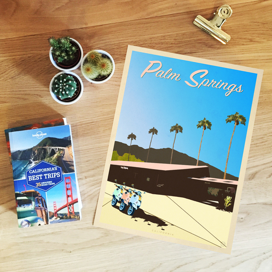 Palm Springs Vintage Style Travel Print