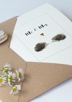 Hedgehog wedding card for animal lovers