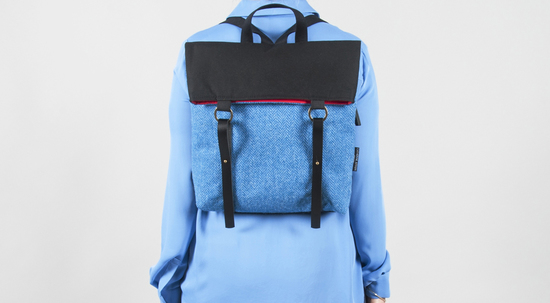 Harris Tweed Rucksack in Blue Herringbone