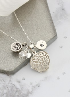 celtic heart locket with April birthstones