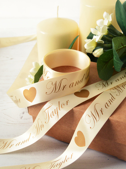 25mm Wide Personalised Wedding Printed Ribbon