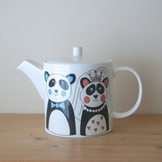 personalised wedding teapot with panda design