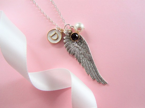 Angel Wing Initial and Birthstone Necklace