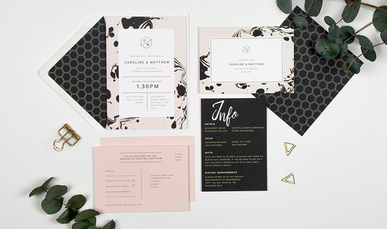 Marbled ink wedding stationery