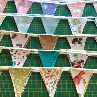 Ready to sew mini bunting cactus and fruit pennants