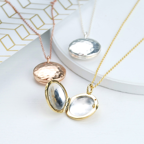 Gently hammered sterling silver peronalised contemporary lockets