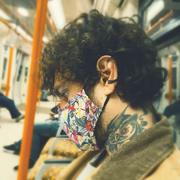 Mrsk Club's Bird mask on the London Overground.