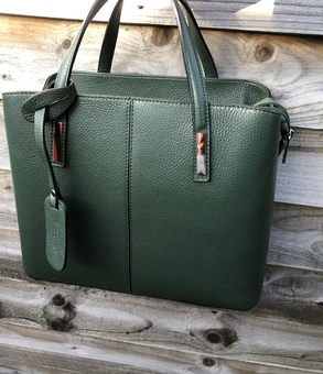 Italian Dollaro leather green tote bag