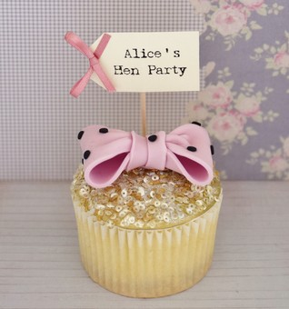 Personalised Hen Party Cupcake Flags - Hen Party Accessory