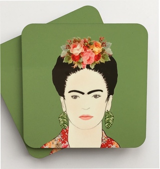 A set of coasters featuring an illustration of Frida Kahlo on a beautiful olive green background. Exclusive to Claryce Design.