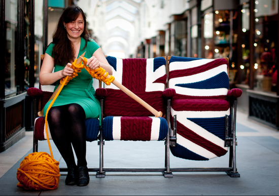 Melanie Porter knitting on Union Jack Chair