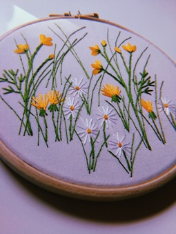 wildflower meadow hand embroidery kit for beginners