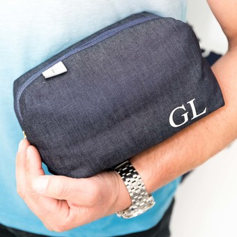 Personalised Denim Wash Bag