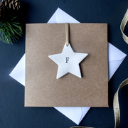 Brown Kraft Christmas Card with personalised white star hanging decoration