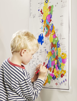 UK Map Fun Historic Colouring Poster