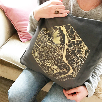 personalised velvet map cushion coral & moss