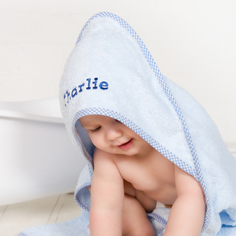 personalised boys blue towel