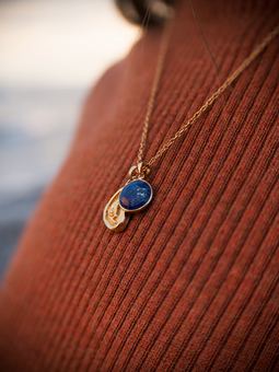Puck Wanderlust Wednesdays Child Totem and Lapis Lasuli Birthday Charm Necklace