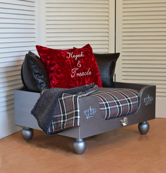 The Elton Luxury Dog Bed Personalised Dog Bed Red and Black Crushed Velvet Dog Bed