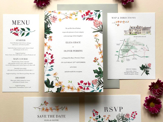 Mediterranean wedding invitation suite