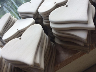 All our hearts are hand cut being glazed three times before completion.