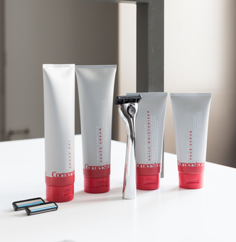Cornerstone razor and skincare products