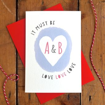 It Must Be Love personalised anniversary card