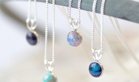 Tiny Opal Necklaces