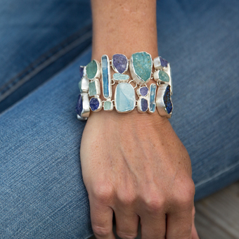 Aquamarine, Tanzanite And Kyanite Handmade Statement Ladies Bracelet