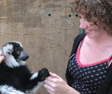 Meeting a ruffed lemur when I worked for a conservation organisation