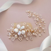 Lace Gold Bridal Hair Comb with Vine