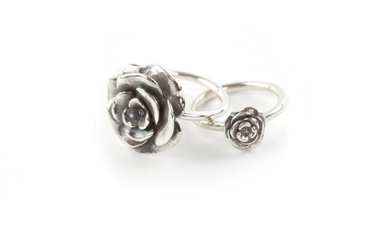 Sterling silver rose rings