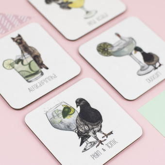cocktail animals drinks coasters