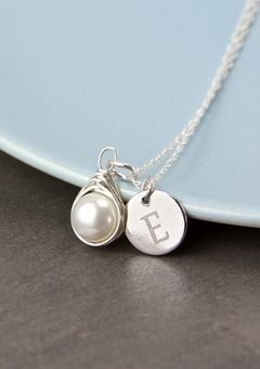 Handmade freshwater pearl necklace, delicately wrapped in sterling silver wire and personalised with an engraved disc.