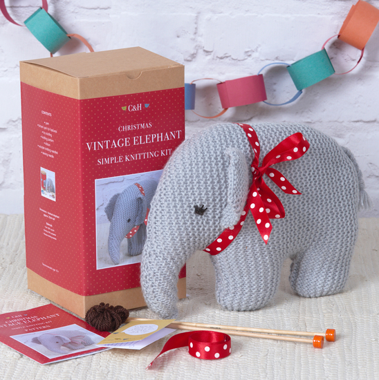 All wrapped for Christmas or Vintage elephant Simple Knitting Kit