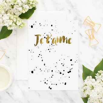 je t'aime gold greeting card