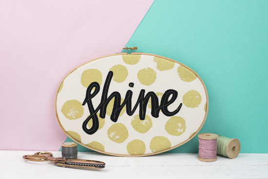 Shine embroidery hoop artworl