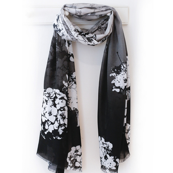 black and ivory hydrangea print