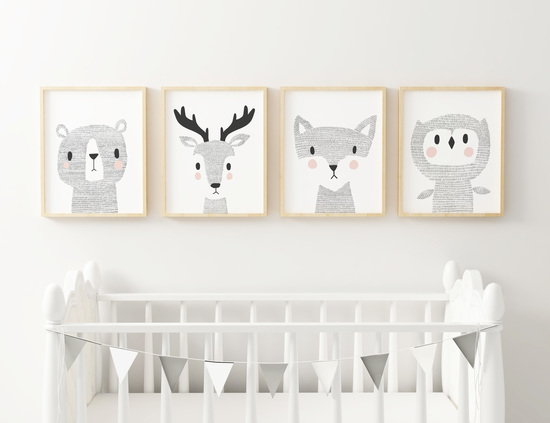 Woodland Animal Nursery Prints