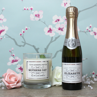 Personalised candles and half bottles of Prosecco for any occasion