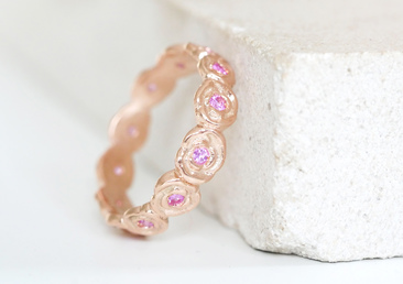 Bespoke 9ct Rose Gold Floral Wedding Band with Pink Sapphires
