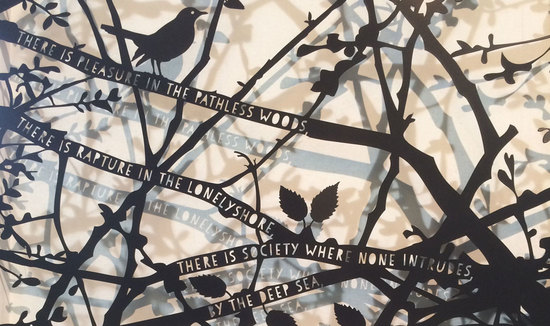 Garden Screen with Blackbird and Byron Poem