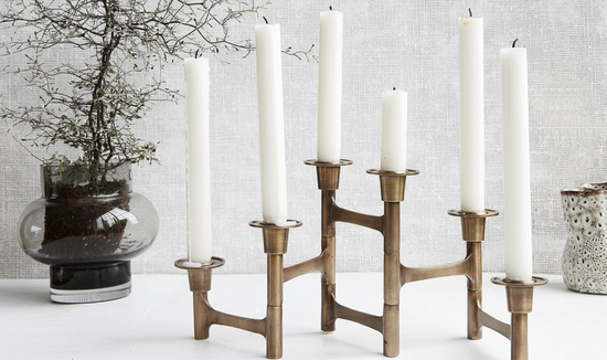 Sculptural Brass Candle Holder