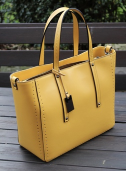 Italian leather yellow large tote bag