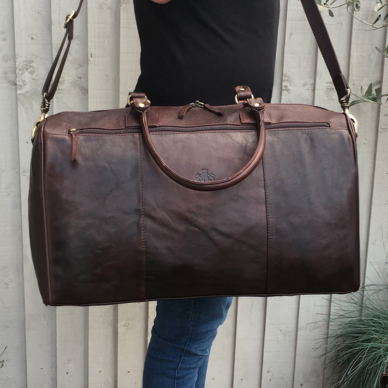 brown leather holdall, gift for men