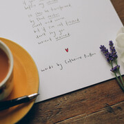'Tea' poem by Catherine Prutton, with teacup and lavender