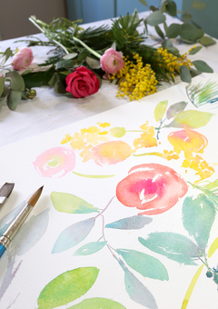 Watercolour florals are painted by hand in the studio