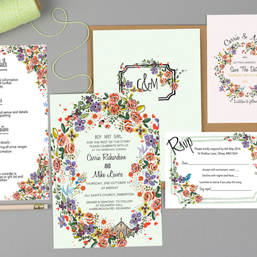 Modern floral wedding Invites